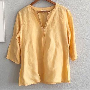 Eileen Fisher Marigold Yellow Irish Linen Tunic